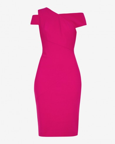 Ted Baker AIVILO Asymmetric neckline dress in bright pink – bodycon party dresses