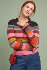 MOTH Leive Striped Sweater in Medium Pink | ruffle cuffed jumpers
