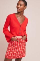 Maeve Quant Mini Skirt in Red Motif | textured retro fashion