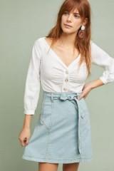 Maeve Wanderer Mini Skirt in Denim Light | tie waist skirts