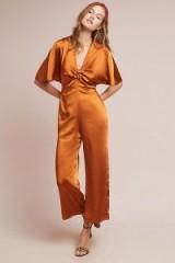 Capulet Kiki Jumpsuit in Bronze | plunge front flutter sleeve jumpsuits
