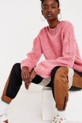 UO Pink Balloon Sleeve Crew Neck Jumper | relaxed sweater