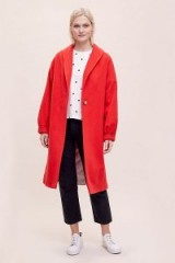 Helene Berman Ruby Belted Coat in Red | balloon sleeved winter coats