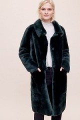 Owen Barry Janet Reversible Shearling Coat in Green | fluffy winter coats