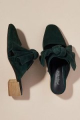 Jeffrey Campbell Tori Suede Mules in Green | winter colours | bow embellished shoes