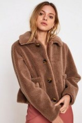 UO Faux Shearling Crop Coat in Beige – cropped winter coats