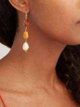 JADE JAGGER Baroque pearl, opal & citrine 18kt gold drop earrings