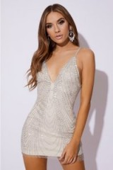 IN THE STYLE BELITA SILVER GLITTER MESH MINI DRESS – sparkly going out dresses