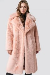 Hannalicious x NA-KD Belted Faux Fur Midi Coat Pink | winter luxe