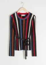 & other stories Belted Glitter Stripe Sweater / metallic knit tops