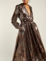 MSGM Belted brown and black leopard-sequinned dress ~ event glamour