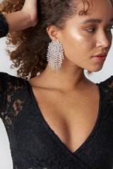 NA-KD Big Round Rhinestone Earrings Silver ~ large diamante chandeliers