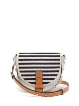 JW ANDERSON Bike blue and white Breton-stripe leather cross-body bag