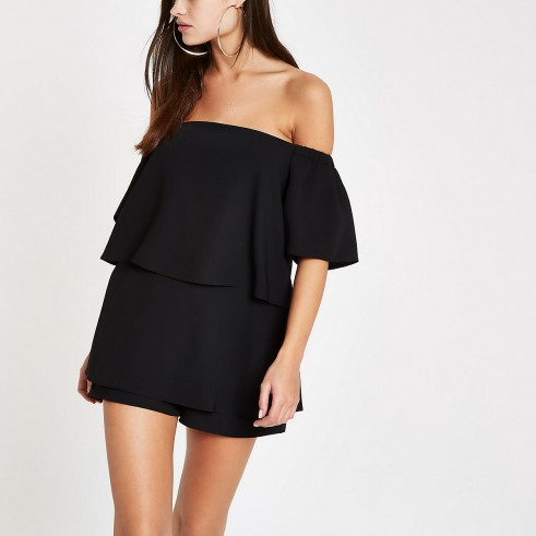 RIVER ISLAND Black bardot playsuit – glamorous party fashion
