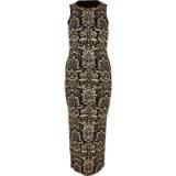 RIVER ISLAND Black baroque print midi dress – glamorous party bodycon