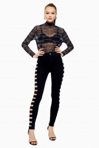 TOPSHOP Black Cut Out Joni Jeans in Black ~ glamorous skinny denim