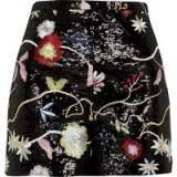 RIVER ISLAND Black floral sequin shorts