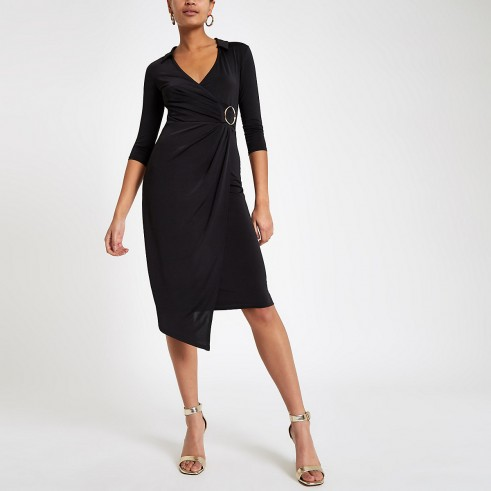 RIVER ISLAND Black ring detail wrap dress – chic asymmetric party dresses