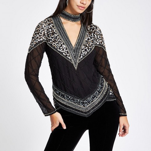 RIVER ISLAND Black sequin embellished choker neck top – sparkly party tops