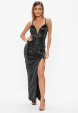 MISSGUIDED black sequin extreme split maxi skirt – glam party fashion
