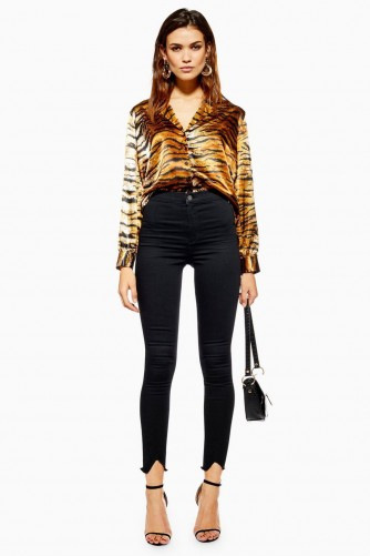 Topshop Black V-Hem Joni Jeans | cut-out hems