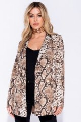 PARISIAN BLACK WHITE SNAKE PRINT DOUBLE BREASTED BLAZER in Brown – reptile printed jacket