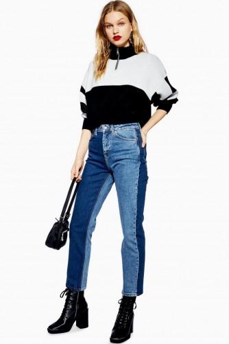 Topshop Blue Colour Block Straight Leg Jeans