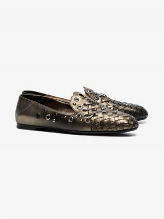 Bottega Veneta Metallic Eyelet Detail Woven Leather Pumps / luxe designer flats