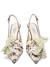 PRADA Bow-trim slingback leather pumps ~ stripes and floral prints together!