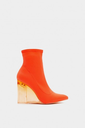 NASTY GAL Bright and Early Wedge Bootie in Orange – lucite wedged heel