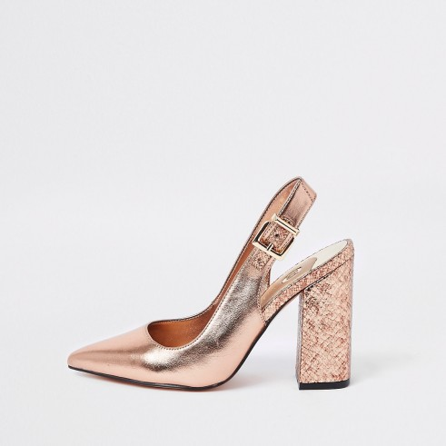 River Island Bright gold block heel sling back court shoes – chunky heeled slingbacks