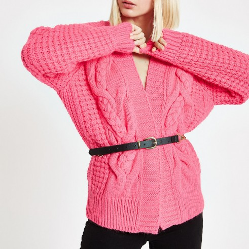 River Island Bright pink cable knit cardigan – chunky knitwear