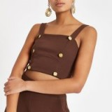River Island Brown button detail crop top – strappy cropped tops
