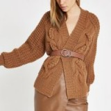 River Island Brown cable knit cardigan – chunky cardi