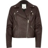 River Island Brown faux leather quilted biker jacket – zip detail jackets