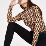 River Island Brown geo print roll neck top – retro prints