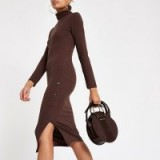 RIVER ISLAND Brown roll neck bodycon midi dress – ribbed jersey dresses