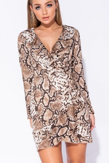 PARISIAN BROWN SNAKE PRINT FRILL DETAIL WRAP FRONT MINI DRESS – animal prints