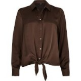 RIVER ISLAND Brown tie front button-up shirt