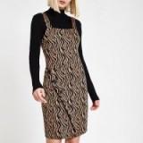 RIVER ISLAND Brown zebra print wrap pinafore mini dress – animal print dresses
