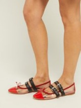 MIU MIU Buckle-fastening plexi and leather ballet flats in red ~ clear flat designer shoes
