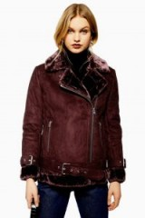 Topshop Burgundy Biker Jacket | faux fur trimmed jackets