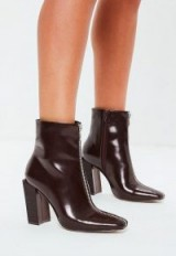 MISSGUIDED burgundy feature heel full zip ankle boots – square block heels