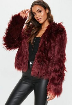 MISSGUIDED burgundy hooded shaggy coat ~ dark red winter jacket