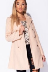 PARISIAN CAMEL FAUX FUR COLLAR BUTTON DETAIL TRENCH COAT – light brown coats
