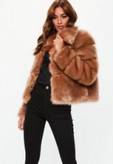 MISSGUIDED camel premium cropped faux fur jacket – fluffy brown jackets