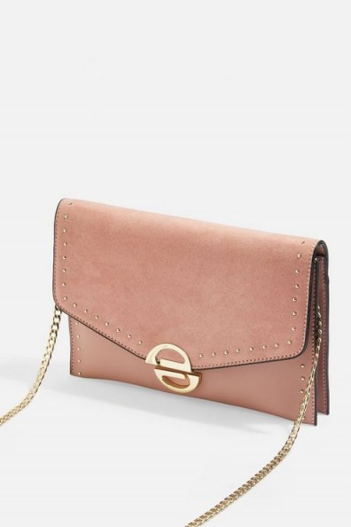 Topshop Candice Clutch Bag in Blush | light pink flap bags