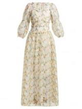 SHRIMPS Cara white daffodil-print check-organza maxi dress ~ long feminine style floral dresses