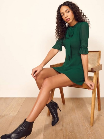 REFORMATION Cassie Dress Emerald – green mini