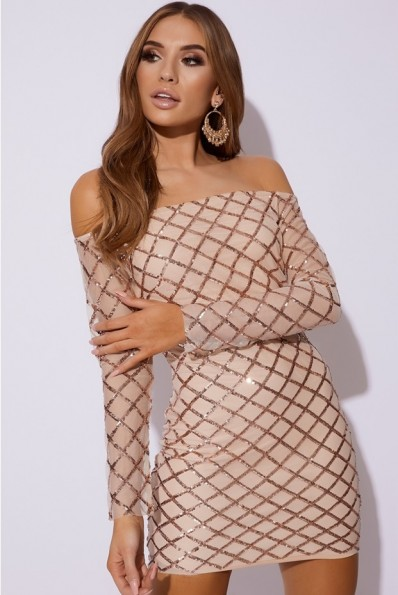 IN THE STYLE CELIEH ROSE GOLD DIAMOND SEQUIN MESH BARDOT DRESS ~ sparkling off the shoulder dress